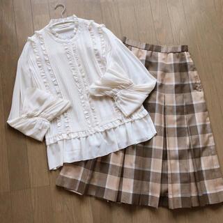 サンタモニカ(Santa Monica)の* used :: check pleats skirt *(ひざ丈スカート)