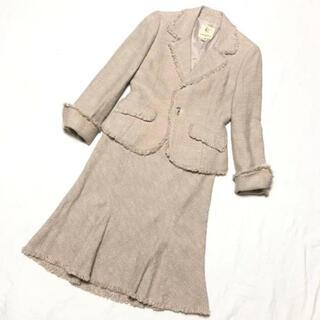 クミキョク(kumikyoku(組曲))のkumikyoku クミキョク ツイード♡ スカートスーツ 2 (M)ベージュ(スーツ)