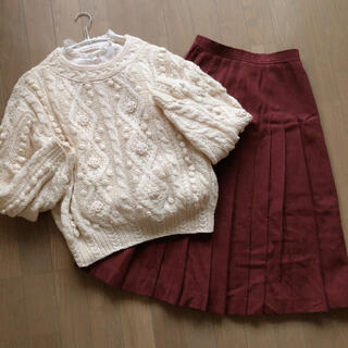 サンタモニカ(Santa Monica)の* used :: wool pleats skirt *(ひざ丈スカート)