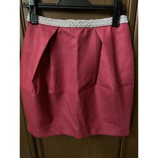 リランドチュール(Rirandture)の美品★ リランドチュール ビジュー付きウールスカート サイズ1  赤 ピンク(ミニスカート)