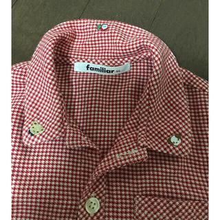 familiar - ファミリア 赤いチェック柄シャツ 90cm くま 犬 家