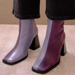 トゥモローランド(TOMORROWLAND)のバイカラーブーツ カラーブーツ 韓国ファッション 38(ブーツ)
