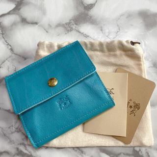 イルビゾンテ(IL BISONTE)の【希少未使用】  イルビゾンテ 三つ折りコンパクト財布 ターコイズブルー(財布)