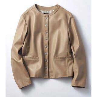 23区 - 23区【中村アンさん着用】シープレザーノーカラー ジャケット