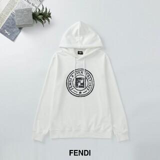フェンディ(FENDI)の超人気 フェンデイ FENDI 男女兼用 パーカー 帽子付き白/M(トレーナー/スウェット)