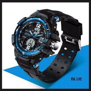 ■2020新入荷■青 デュアルディスプレイ 防水ダイバーズ ウォッチ(腕時計(デジタル))