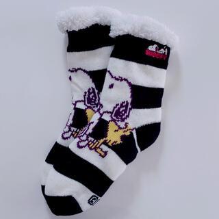 SNOOPY - 【新品未使用】☆ スヌーピー ☆  厚手 二重編み もこもこ靴下 ボーダー