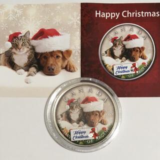 「ハッピークリスマス」メイプルリーフ銀貨1オンス サンタ帽の犬と猫(貨幣)
