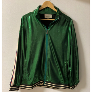 Gucci - 【GUCCI】ロゴ ストライプ オーバーサイズ ラミネート ジャケット Sサイズ