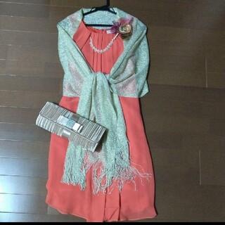 エメ(AIMER)の2WAYドレス一式 ストール コサージュ パーティーバッグ (ミディアムドレス)