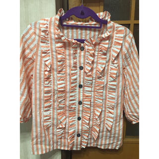 ルシェルブルー(LE CIEL BLEU)のmanielle ストライプフリルシャツ オレンジピンク(シャツ/ブラウス(長袖/七分))