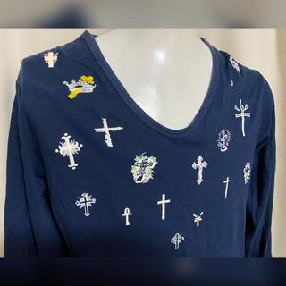 ファセッタズム(FACETASM)のFACETASM  ファセッタズム 十字架刺繍 クロス カットソー ネイビー M(Tシャツ/カットソー(七分/長袖))