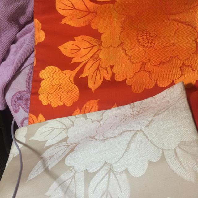 着物 帯 オレンジ 中古 レディースの水着/浴衣(着物)の商品写真