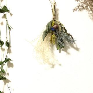 [お値下げ]ナチュラルなスワッグ グリーン系 プチギフト 花材 素材 Q(ドライフラワー)