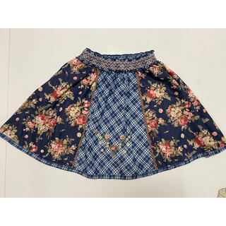 スーリー(Souris)のsouris スーリー スカート 140㎝ 花刺繍 青(スカート)
