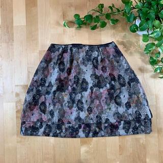 マルティニークルコント(martinique Le Conte)のマルティニーク ウール混 総柄 花柄スカート 1サイズ S 日本製(ミニスカート)
