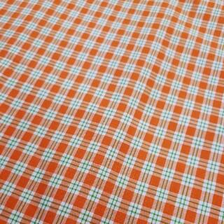 オレンジと緑 チェック柄 綿100% 110×200cm 手芸 裁縫 (生地/糸)