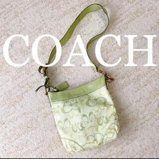 コーチ(COACH)の美品 コーチ ショルダーバッグ ハンドバッグ 2WAY 黄緑色(ショルダーバッグ)
