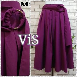ヴィス(ViS)のM:新品 ロングスカート/ヴィス★タグ付き★パープル(ロングスカート)