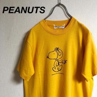 プランピーナッツ(plumpynuts)の古着 PEANUTS スヌーピー Tシャツ イエロー(Tシャツ/カットソー(半袖/袖なし))
