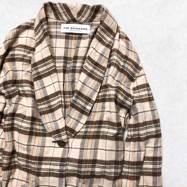 Shinzone(シンゾーン)のTHE SHINZONE ザシンゾーン ロング コート チェック 日本製 レディースのジャケット/アウター(ロングコート)の商品写真