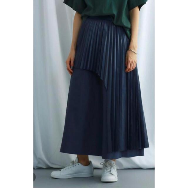 UNITED ARROWS(ユナイテッドアローズ)のJET NEW YORK 25300円 ネイビー プリーツスカート レディースのスカート(ロングスカート)の商品写真