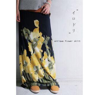 【antiqua】2way アート 花柄 ロング スカート【アンティカ】