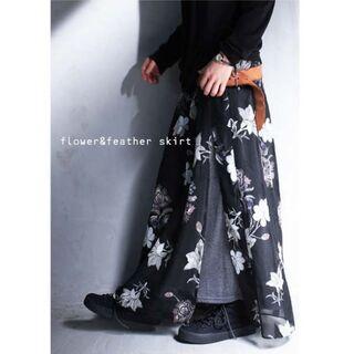 【antiqua】花柄 サイド スリット スカート ブラックベース【アンティカ】