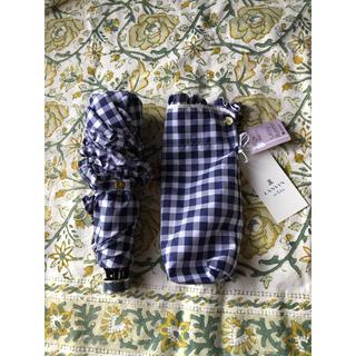 ランバンオンブルー(LANVIN en Bleu)のランバンオンブルー⭐︎折り畳み傘 ギンガムチェック&フリル(ブルー)(傘)