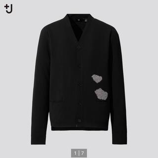 ジルサンダー(Jil Sander)のメリノブレンドVネックカーディガン(長袖・雲)ブラック Lサイズ 新品 タグ付き(カーディガン)
