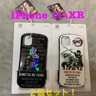ジーユー(GU)の鬼滅の刃gu iPhoneケース ブラック&ホワイト2個セット(iPhoneケース)