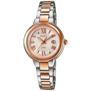 カシオ(CASIO)のカシオ SHEEN ソーラーサファイア 腕時計 シルバー×ピンクゴールド(腕時計)