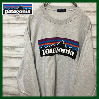 patagonia - 定番 パタゴニア デカロゴ   スウェット トレーナー グレー系