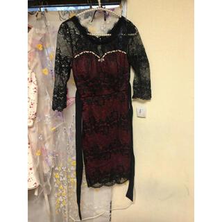 デイジーストア(dazzy store)のボルドー、赤、ワインレッド総レースドレス 背中空き セクシー 膝丈 キャバドレス(ナイトドレス)