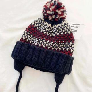 ザラキッズ(ZARA KIDS)の新品未使用 zara baby ポンポン付きニット帽(帽子)