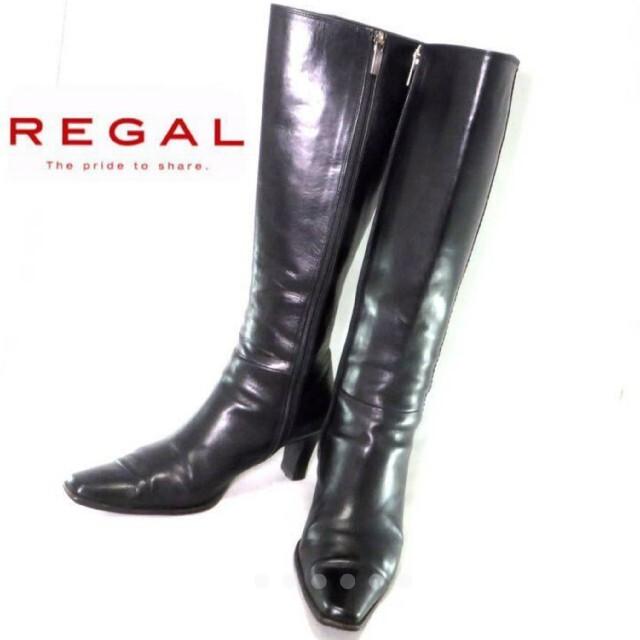 REGAL(リーガル)のREGAL リーガル ロングブーツ 23cm 本革 ブラック 黒 レディースの靴/シューズ(ブーツ)の商品写真