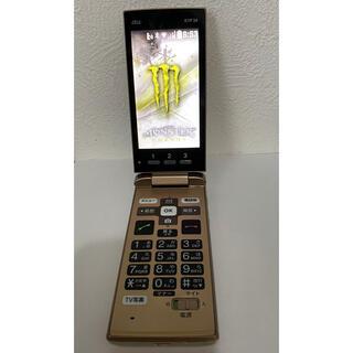 キョウセラ(京セラ)のガラホ AU KYF38 ゴールド 中古 ガラスマ 管理R(携帯電話本体)