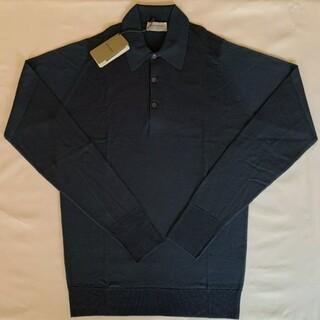 JOHN SMEDLEY - 未使用ジョンスメドレー メリノウール長袖ポロシャツ S デッドストック 英国製