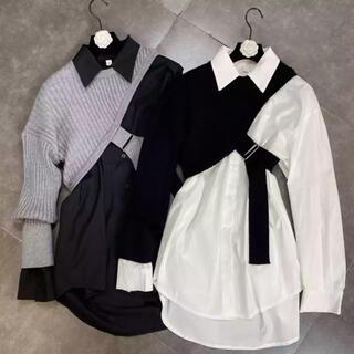 Ameri VINTAGE - レギュラーシャツ × ニットベスト 2P