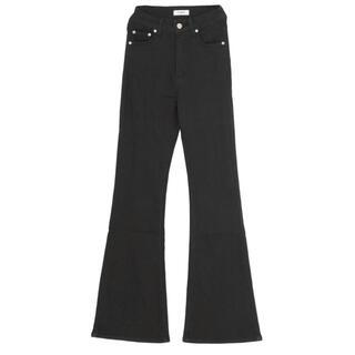EVRIS - EVRIS BASICフレアーDENIM パンツ ブラック