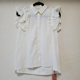 eimy istoire - eimy istoire ギャザーフリルスリーブシャツ ホワイト タグ付き