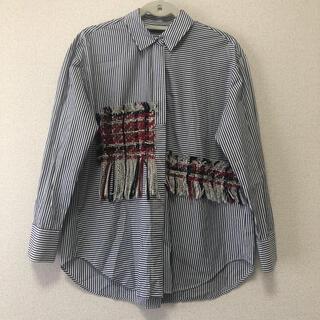 ザラ(ZARA)のZARA(ザラ)ストライプ×ツイードシャツ(シャツ/ブラウス(長袖/七分))