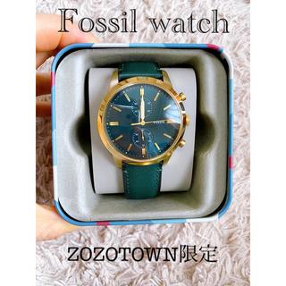 FOSSIL フォッシルウォッチ レザーベルト緑×金 ZOZO限定