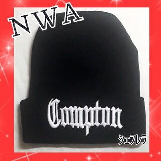 Compton ニットキャップ ビーニー ブラック×ホワイト ニット帽 黒×白(ニット帽/ビーニー)