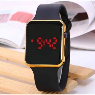 LED デジタル デザイン ウオッチ シリコン バンド ブラック × ゴールド(腕時計(デジタル))