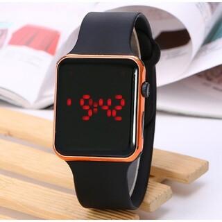 LED デジタル デザイン ウオッチ シリコン バンド  ローズゴールド(腕時計(デジタル))
