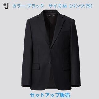 ユニクロ(UNIQLO)の+j ウールテーラードジャケット 黒(M)+ ウールスリムフィットパンツ(79)(セットアップ)
