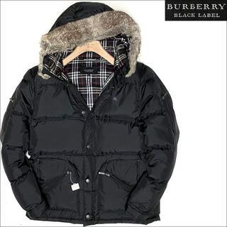 BURBERRY BLACK LABEL - J5236バーバリーブラックレーベル ラビットファーノバチェックダウンジャケット