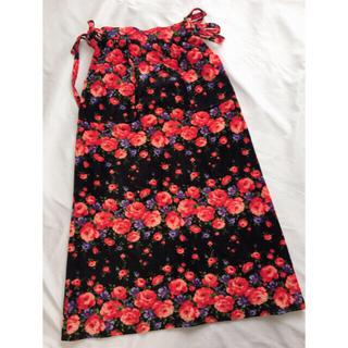 ロキエ(Lochie)のレトロ お花柄 ロングスカート ヴィンテージ  古着 リボン ポケット(ロングスカート)