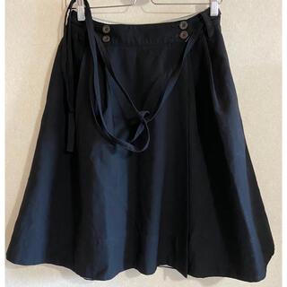 マーガレットハウエル(MARGARET HOWELL)のMHL ダブルボタン可愛い巻きスカートウエストリボン(ひざ丈スカート)